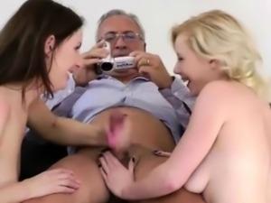 British babes make old man jizz