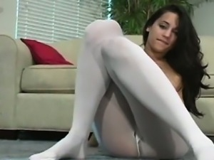 Taut butts in pantyhose show