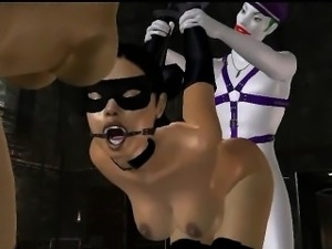 Two tied up 3D babes getting fucked by The Joker