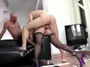 British lady in stockings takes rough anal group sex