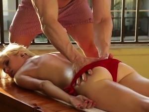 Sexy Chloe gets massaged by boyfriend