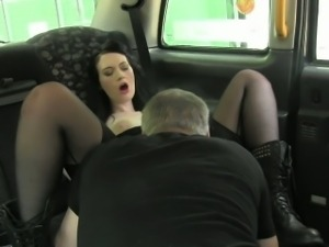 British emo babe fuck and creampie in fake taxi