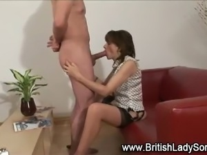 Brit mistress sucks and strokes cock