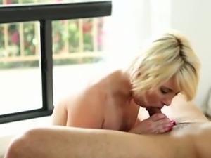 Sassy blonde Dani Desire works her man towards a big sticky
