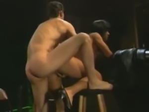 Vintage brunette slut gets banged in the bar