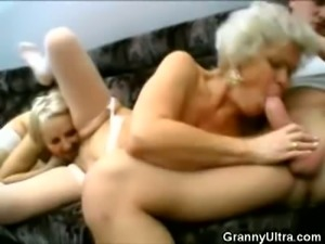 Two blonde matures share a hard rod of young meat