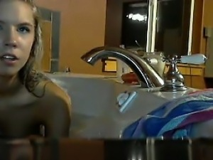 Beautiful Blonde Teen Has A Bath