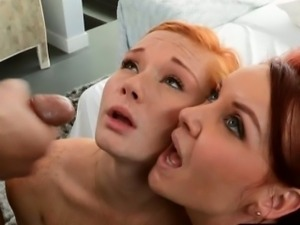 Janet Mason and Alex Tanner sharing cum after hard fucking