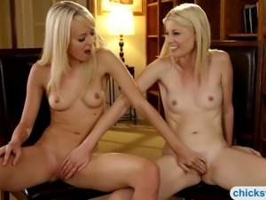 Two tight blonde teen girls stripped naked and making o