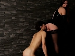 Weeping slave drinks piss and cleans domme\'s smelly pussy
