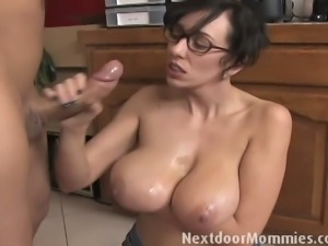 Ben English's cock stroked by milf Alia Janine