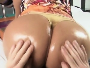 Big ass latina booty oiled up