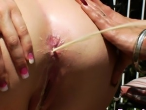 Enema babe ass squirts milk all over babe
