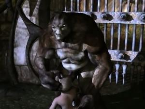 Foxy 3D cartoon blonde sucking on a troll\'s hard cock