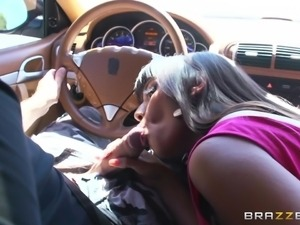 mercedes likes to suck cock in car