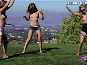 Three playful teen girls lesbian action in the bedroom