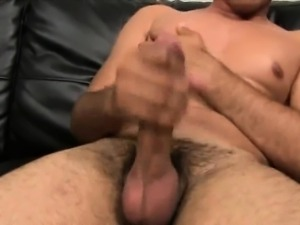 Straight ethnic hunk tugging on his cock for money