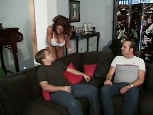 Mature with fake hooters threesome.