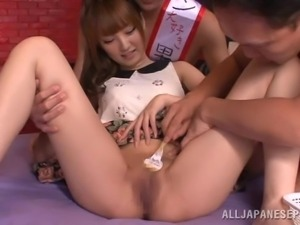 japanese cutie has two men shave her pussy