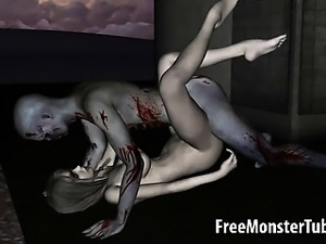 3D cartoon zombie babe getting licked and fucked