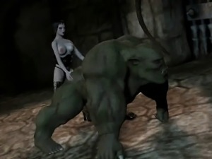 3D brunette fucking an orc with a strap on dildo