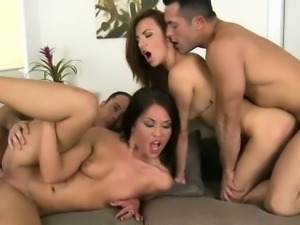 Two Sexy Girls In A Foursome With Their Friends