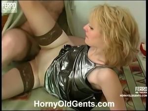 Sexy blonde in stockings gets banged very hard