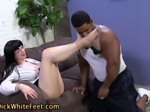 Lubed feet stroke cock