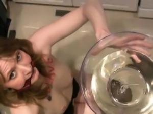 Blonde sexy piss slut girl in BDSM play