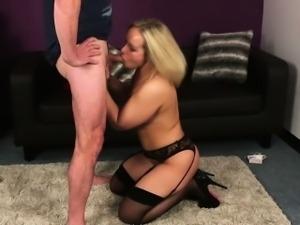 Blonde escort gets facial