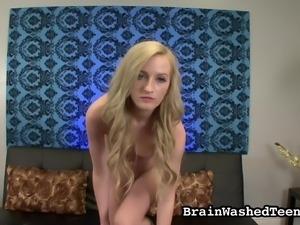 blonde cutie is brainwashed towards my rock hard cock
