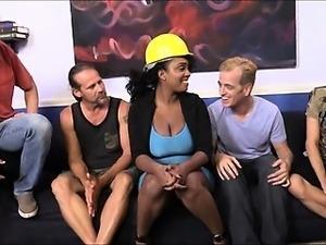 Big boobs ebony Layton Benton groupsex with white men