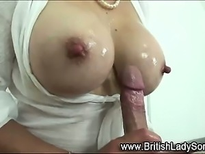 British mature lady gets titfuck cumshot