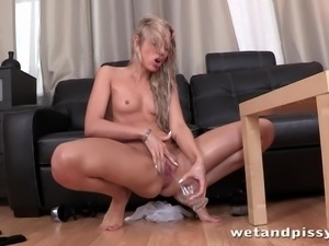 girl with dildo has a pissing fetish