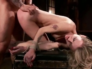 Blonde bitch bound and banged from behind
