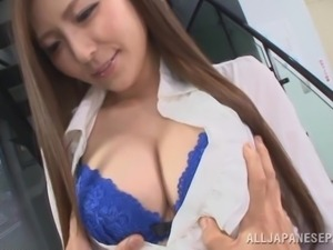 taking photos of the teacher's big tits