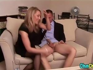 Cfnm british babe jerks cock