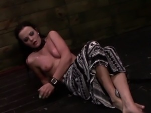 Submissive bdsm lover gagging and gagged