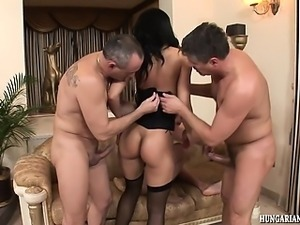 Euro babe gets DP and ass fucked by 3 guys