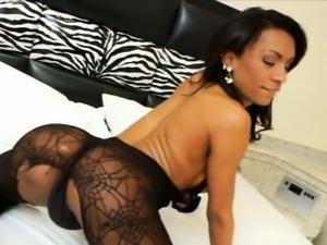 Big tits ebony tranny Cintia Matarazzo solo masturbation