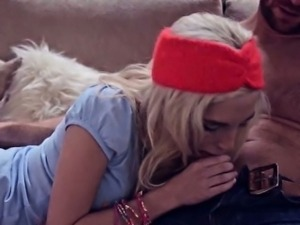 Tiny blonde teen Piper Perri gets her pussy screwed on sofa