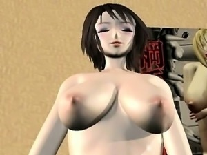 3D anime bitch gives blowjob to a masked dude