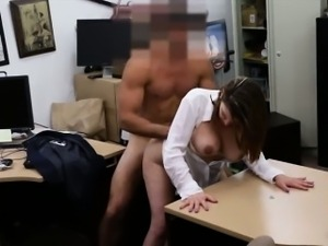 Big boobs woman pounded at the pawnshop for a plane ticket