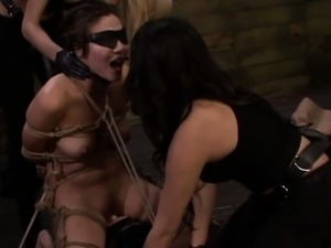 Lezdom submissive strapon dominated by harsh lesbians