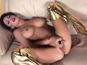 Jessica strips and fingers herself in shiny boots