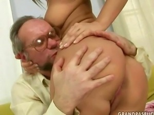 Lucky grandpa fucks hot young girl