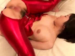 Cosplay catsuit Asuna Langley cum swallowing