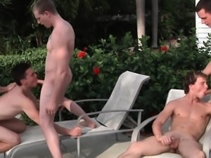 Cum covered jock outdoors gets anally fucked