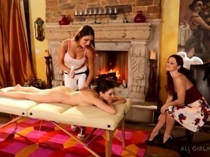 sexy lesbians rub down their friend