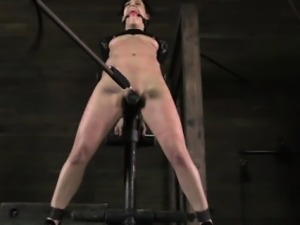 Gagged sub bent backwards and toyed